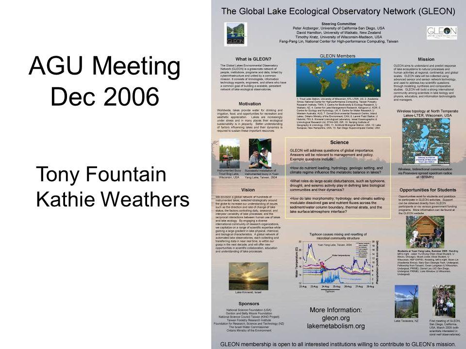 AGU Meeting Dec 2006 Tony Fountain Kathie Weathers