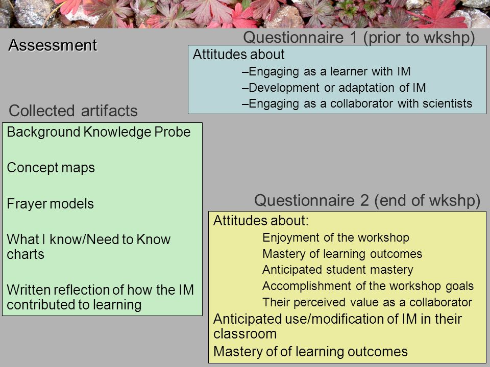 Assessment Background Knowledge Probe Concept maps Frayer models What I know/Need to Know charts Written reflection of how the IM contributed to learning Collected artifacts Attitudes about –Engaging as a learner with IM –Development or adaptation of IM –Engaging as a collaborator with scientists Questionnaire 2 (end of wkshp) Attitudes about: Enjoyment of the workshop Mastery of learning outcomes Anticipated student mastery Accomplishment of the workshop goals Their perceived value as a collaborator Anticipated use/modification of IM in their classroom Mastery of of learning outcomes Questionnaire 1 (prior to wkshp)