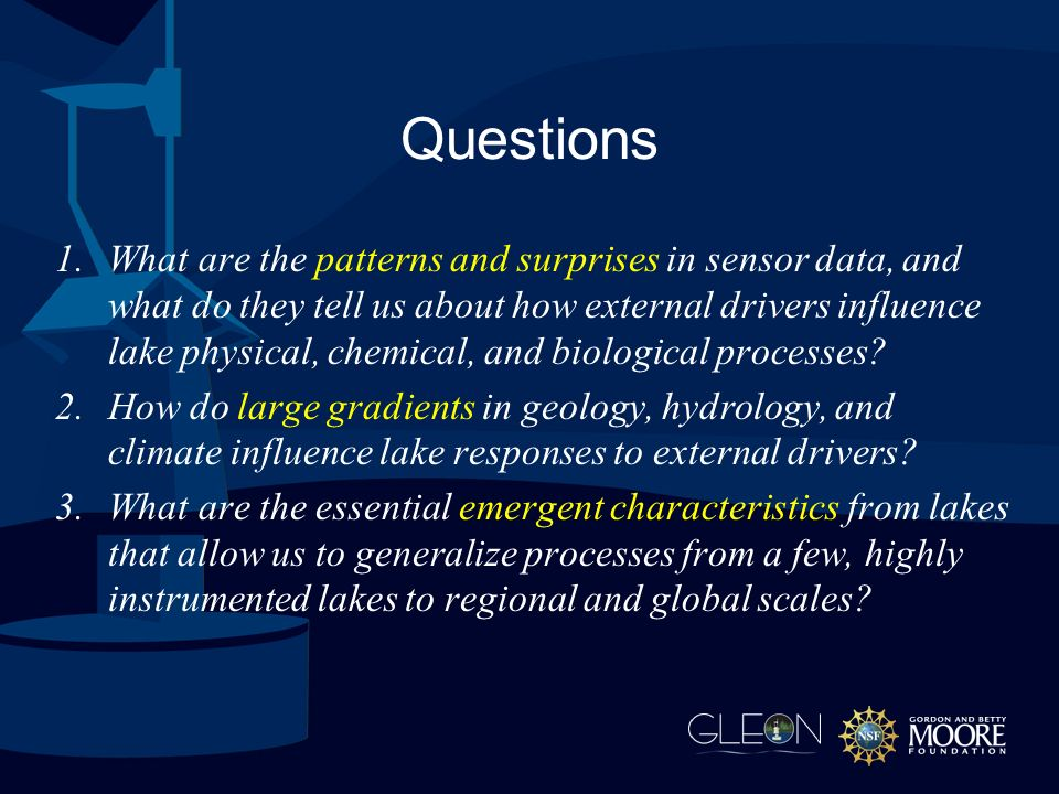 Questions 1.What are the patterns and surprises in sensor data, and what do they tell us about how external drivers influence lake physical, chemical, and biological processes.