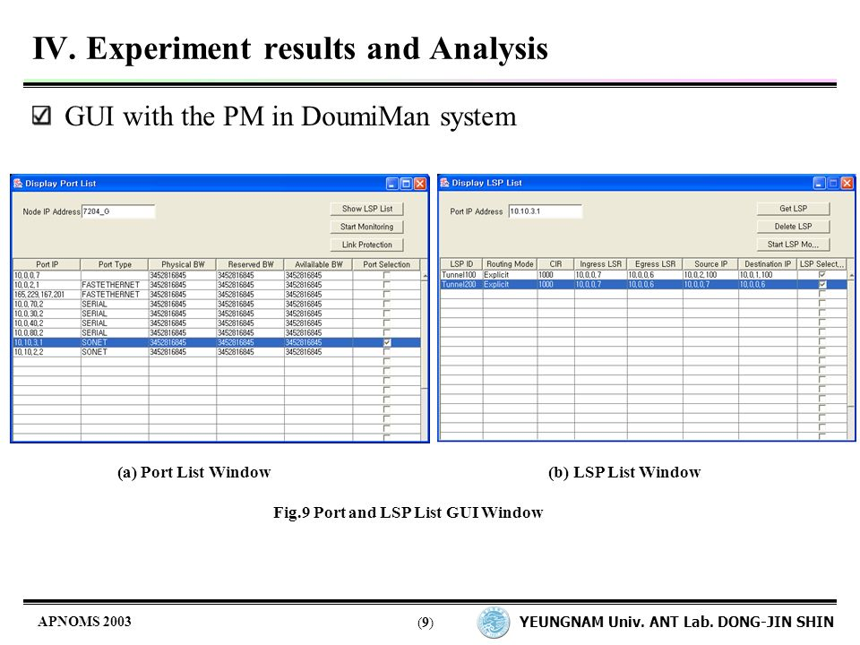 YEUNGNAM Univ. ANT Lab. DONG-JIN SHIN (9)(9) APNOMS 2003 IV.