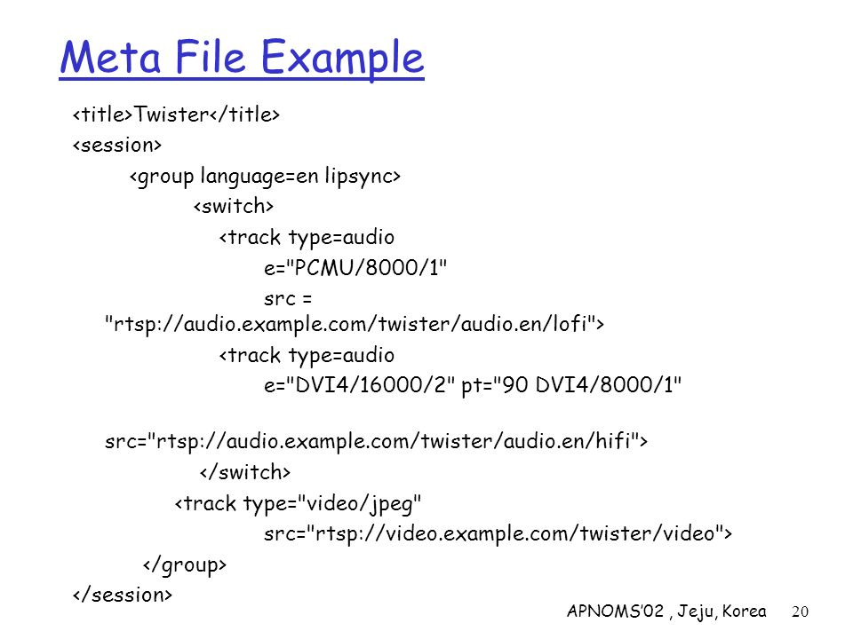 APNOMS02, Jeju, Korea20 Meta File Example Twister <track type=audio e=