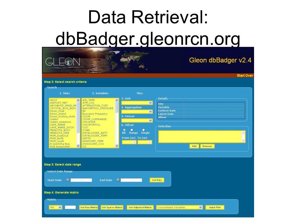 Data Retrieval: dbBadger.gleonrcn.org