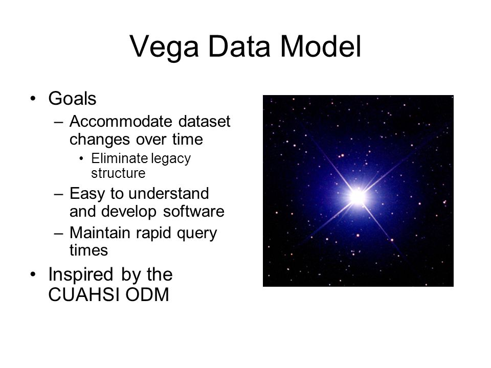 Vega Data Model Goals –Accommodate dataset changes over time Eliminate legacy structure –Easy to understand and develop software –Maintain rapid query times Inspired by the CUAHSI ODM