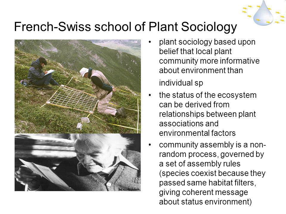 French-Swiss school of Plant Sociology plant sociology based upon belief that local plant community more informative about environment than individual