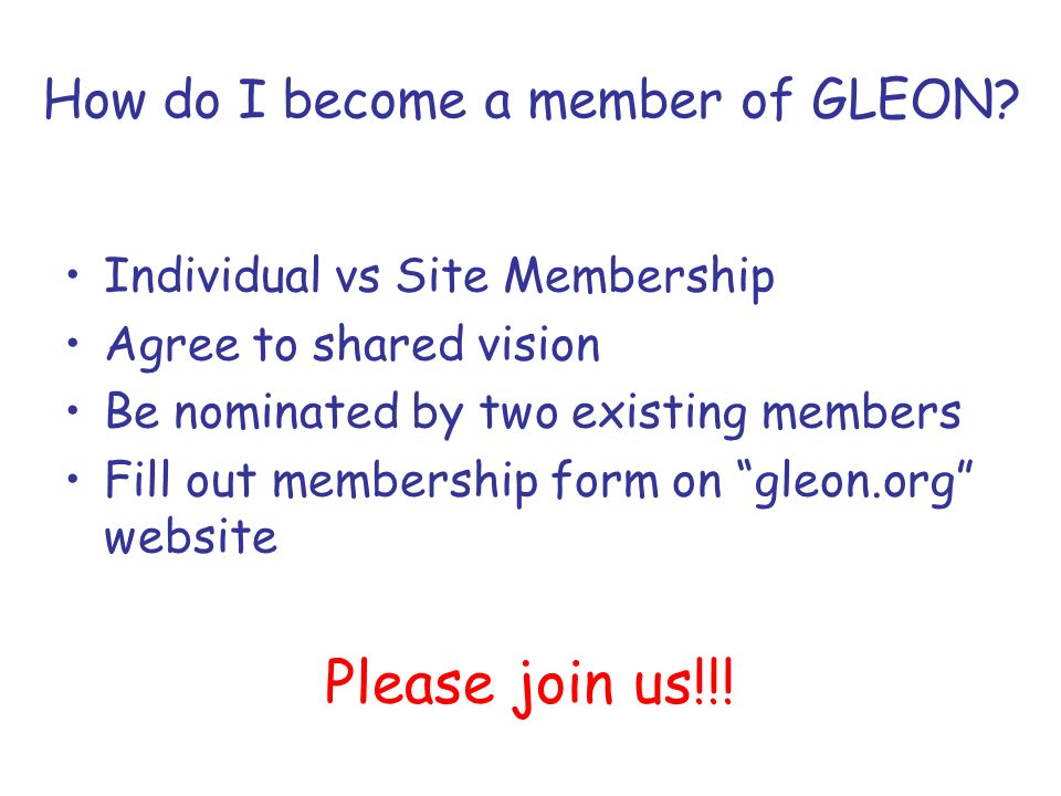 How do I become a member of GLEON.