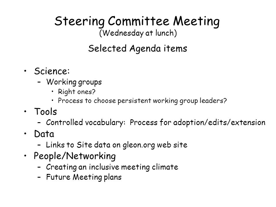 Steering Committee Meeting (Wednesday at lunch) Science: –Working groups Right ones.