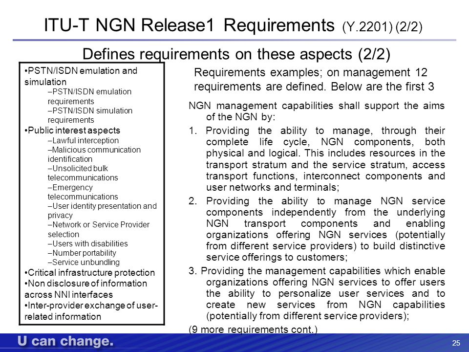 25 ITU-T NGN Release1 Requirements (Y.2201) (2/2) PSTN/ISDN emulation and simulation –PSTN/ISDN emulation requirements –PSTN/ISDN simulation requireme