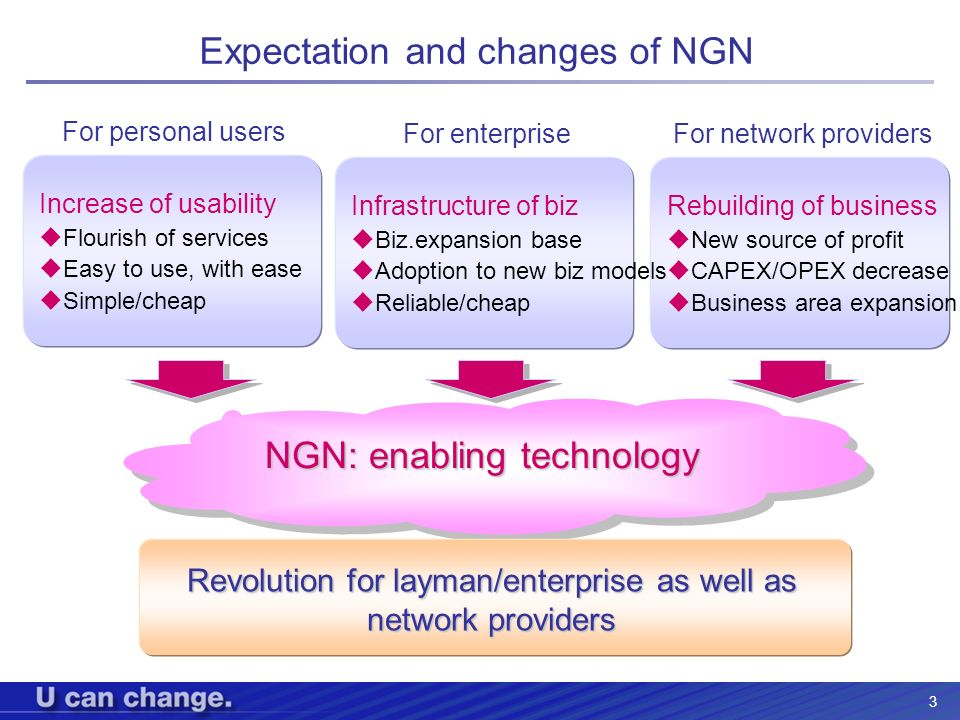 3 Expectation and changes of NGN Increase of usability Flourish of services Easy to use, with ease Simple/cheap For personal users For enterprise Rebu