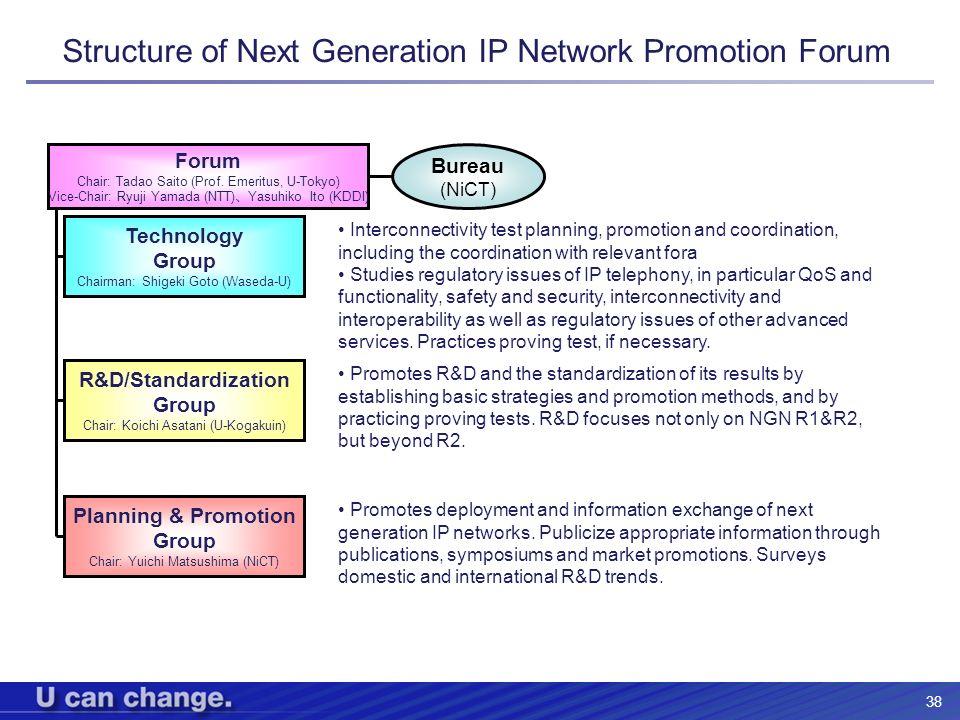 38 Structure of Next Generation IP Network Promotion Forum Forum Chair: Tadao Saito (Prof. Emeritus, U-Tokyo) Vice-Chair: Ryuji Yamada (NTT) Yasuhiko
