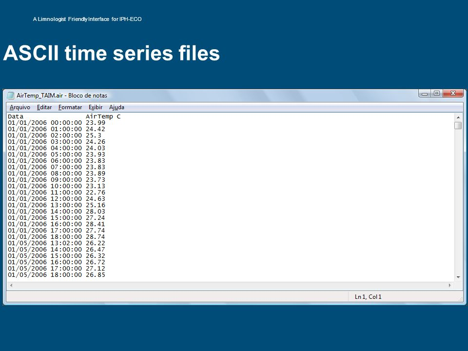 ASCII time series files A Limnologist Friendly Interface for IPH-ECO