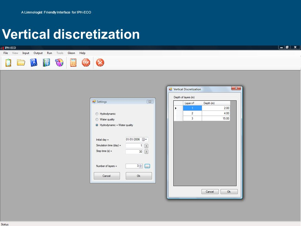 Vertical discretization A Limnologist Friendly Interface for IPH-ECO