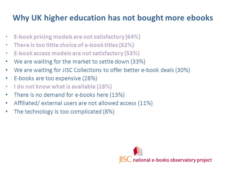 Why UK higher education has not bought more ebooks E-book pricing models are not satisfactory (64%) There is too little choice of e-book titles (62%) E-book access models are not satisfactory (53%) We are waiting for the market to settle down (33%) We are waiting for JISC Collections to offer better e-book deals (30%) E-books are too expensive (28%) I do not know what is available (18%) There is no demand for e-books here (13%) Affiliated/ external users are not allowed access (11%) The technology is too complicated (8%)