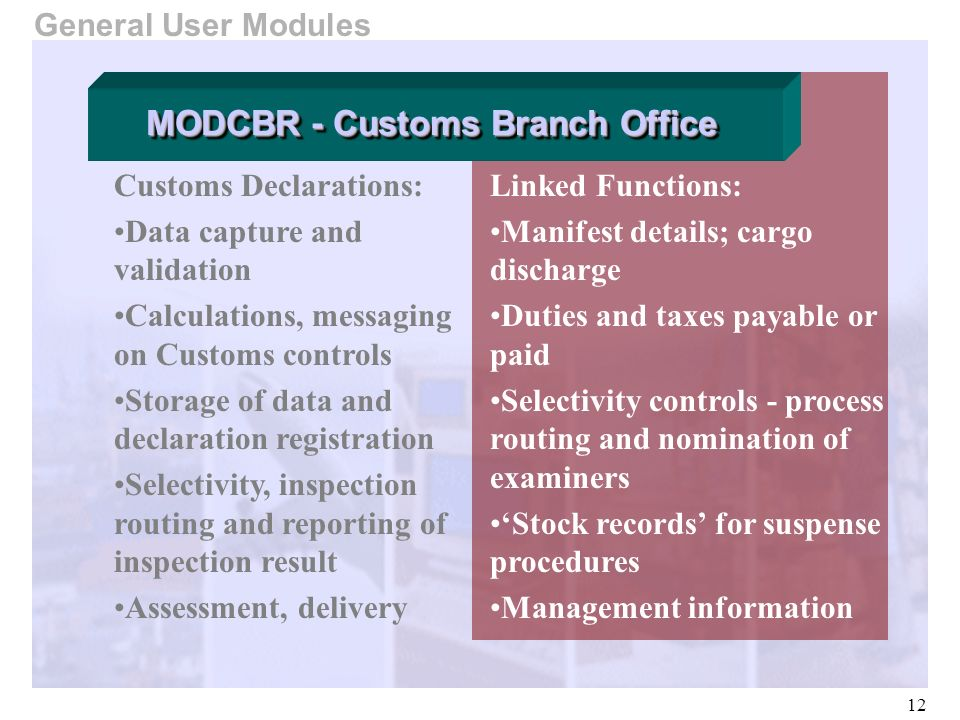 12 General User Modules Customs Declarations: Data capture and validation Calculations, messaging on Customs controls Storage of data and declaration