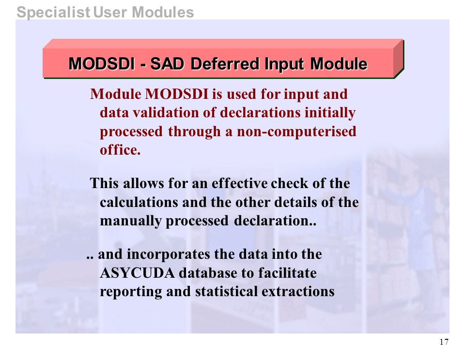17 Module MODSDI is used for input and data validation of declarations initially processed through a non-computerised office. This allows for an effec