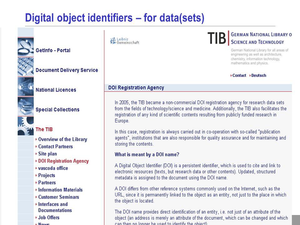 16 Digital object identifiers – for data(sets)