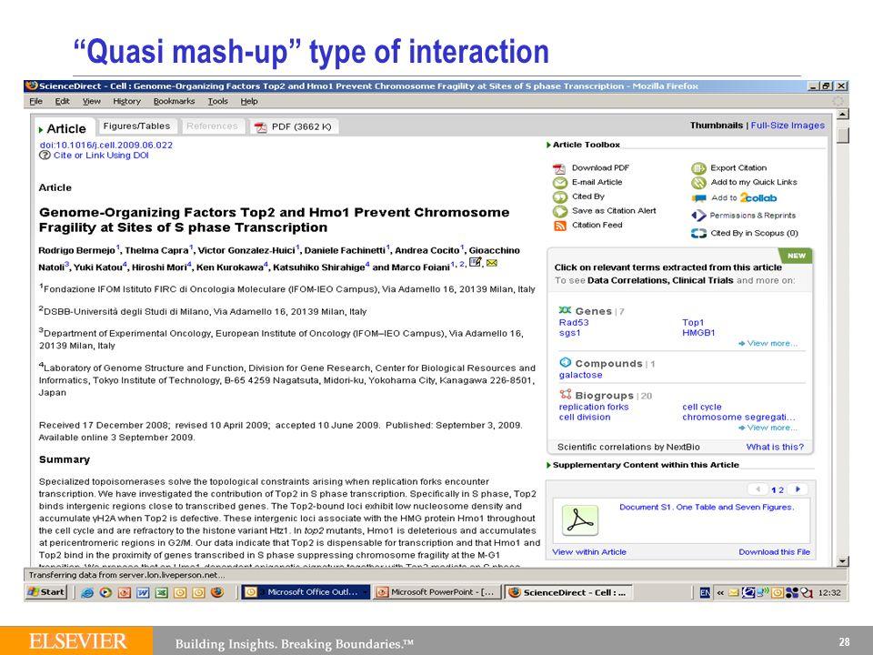 28 Quasi mash-up type of interaction