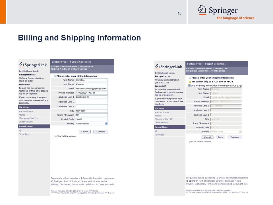 10 Billing and Shipping Information
