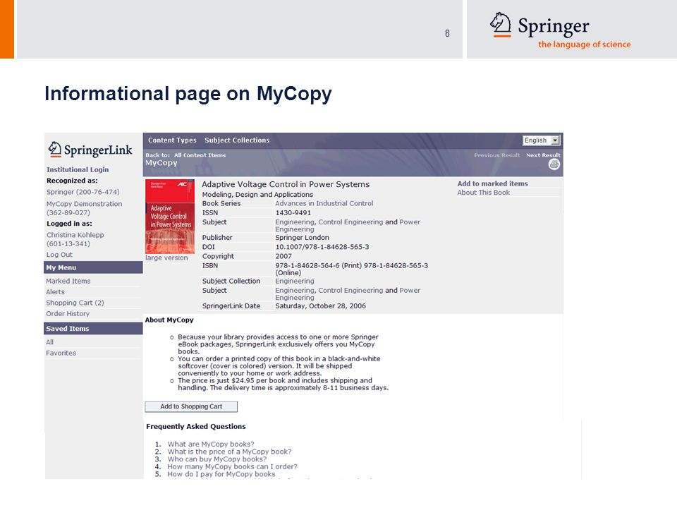 8 Informational page on MyCopy