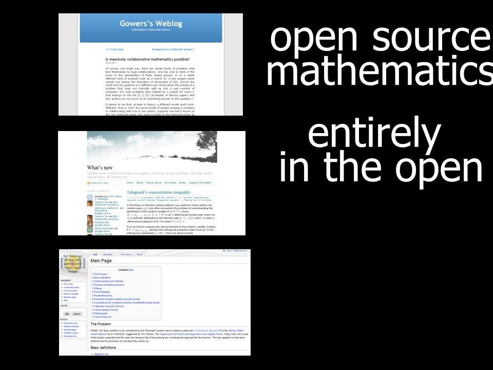open source mathematics entirely in the open