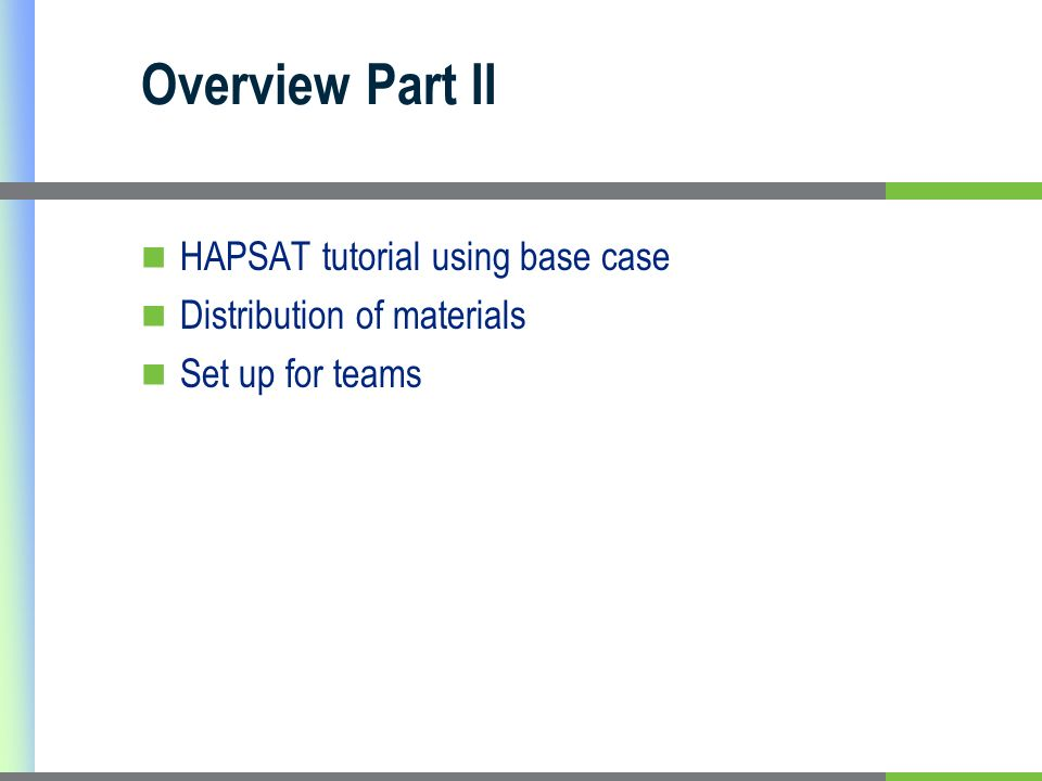 Overview Part II HAPSAT tutorial using base case Distribution of materials Set up for teams