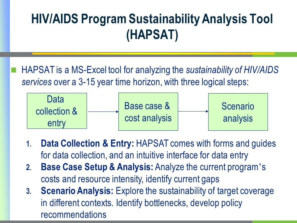 HIV/AIDS Program Sustainability Analysis Tool (HAPSAT) HAPSAT is a MS-Excel tool for analyzing the sustainability of HIV/AIDS services over a 3-15 year time horizon, with three logical steps: Data collection & entry Base case & cost analysis Scenario analysis 1.