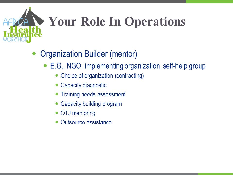 Your Role In Operations Organization Builder (mentor) E.G., NGO, implementing organization, self-help group Choice of organization (contracting) Capacity diagnostic Training needs assessment Capacity building program OTJ mentoring Outsource assistance