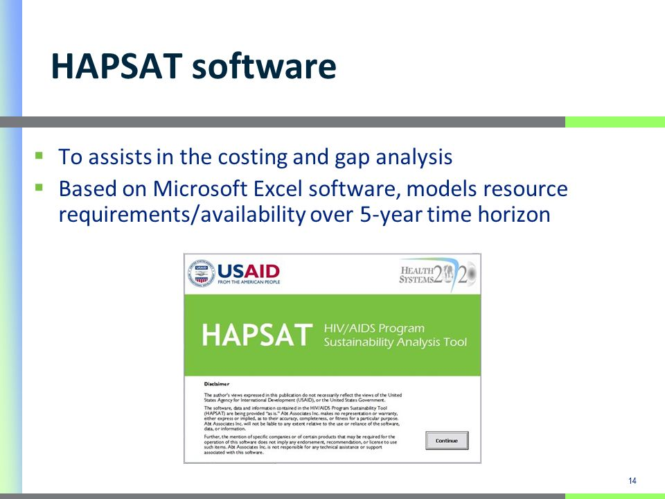 14 HAPSAT software To assists in the costing and gap analysis Based on Microsoft Excel software, models resource requirements/availability over 5-year