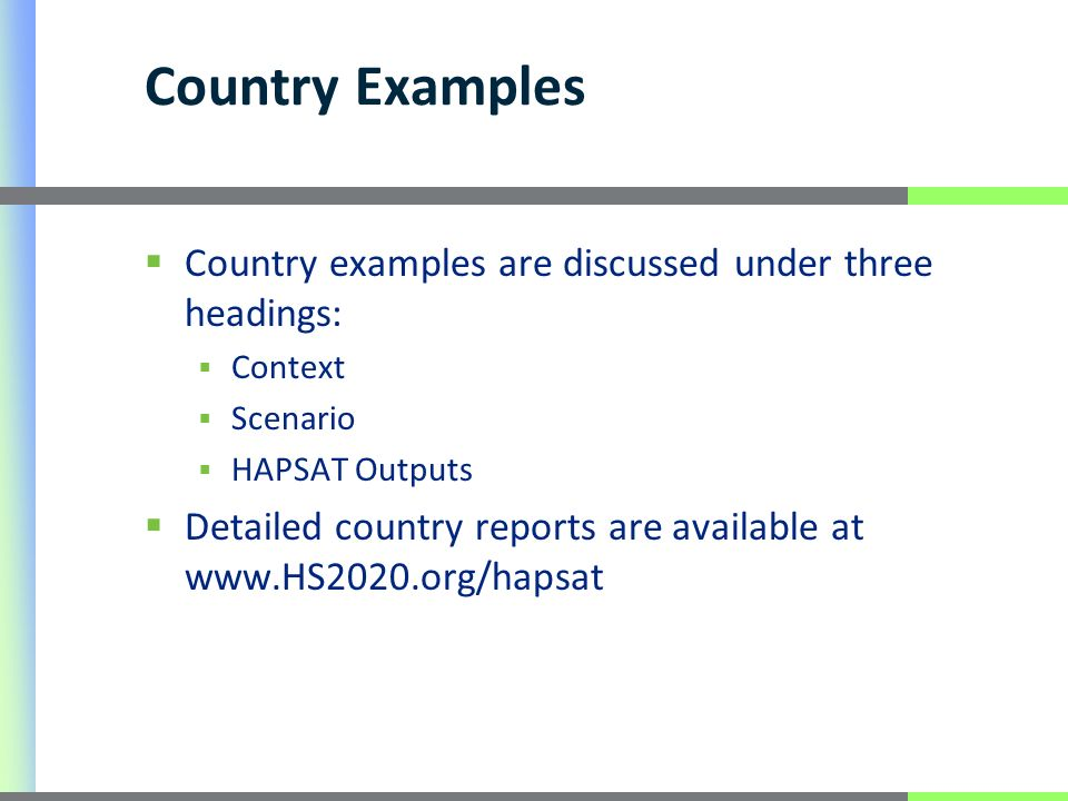 Country examples are discussed under three headings: Context Scenario HAPSAT Outputs Detailed country reports are available at www.HS2020.org/hapsat