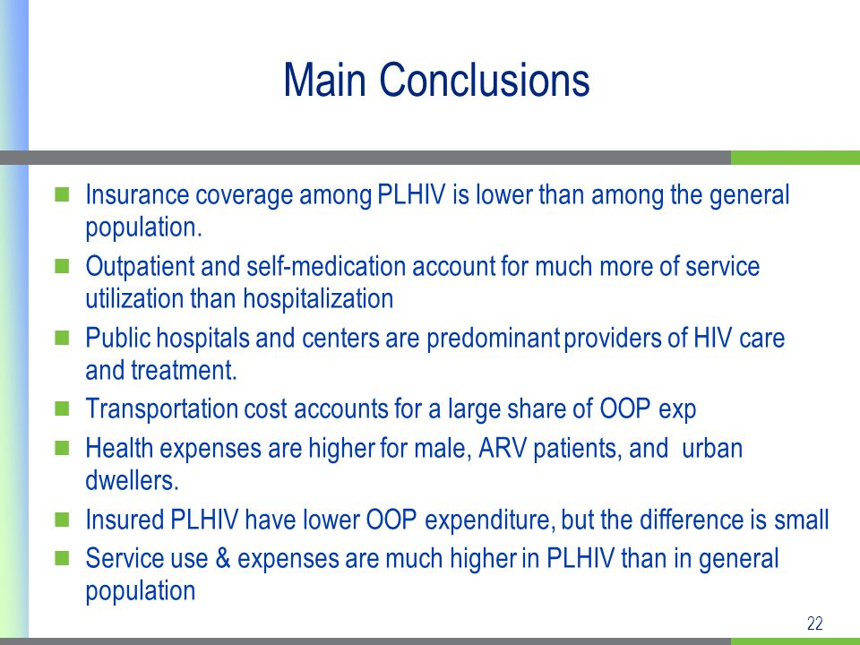 22 Main Conclusions Insurance coverage among PLHIV is lower than among the general population.