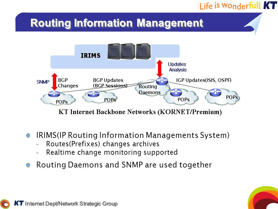 Internet Dept/Network Strategic Group Routing Information Management IRIMS(IP Routing Information Managements System) -Routes(Prefixes) changes archiv