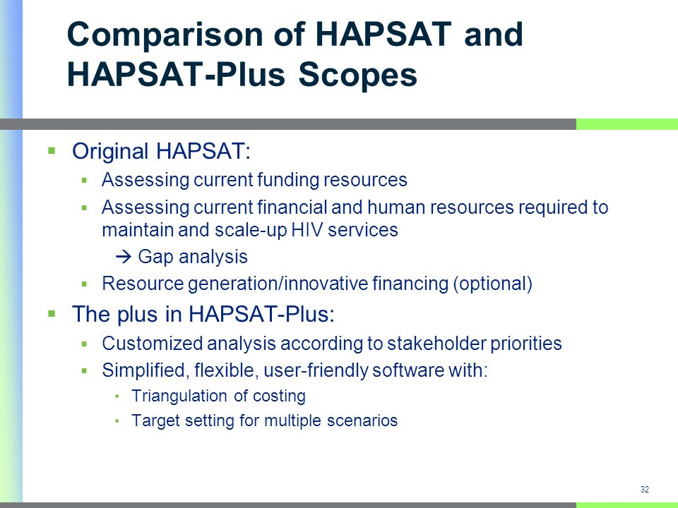 32 Comparison of HAPSAT and HAPSAT-Plus Scopes Original HAPSAT: Assessing current funding resources Assessing current financial and human resources required to maintain and scale-up HIV services Gap analysis Resource generation/innovative financing (optional) The plus in HAPSAT-Plus: Customized analysis according to stakeholder priorities Simplified, flexible, user-friendly software with: Triangulation of costing Target setting for multiple scenarios