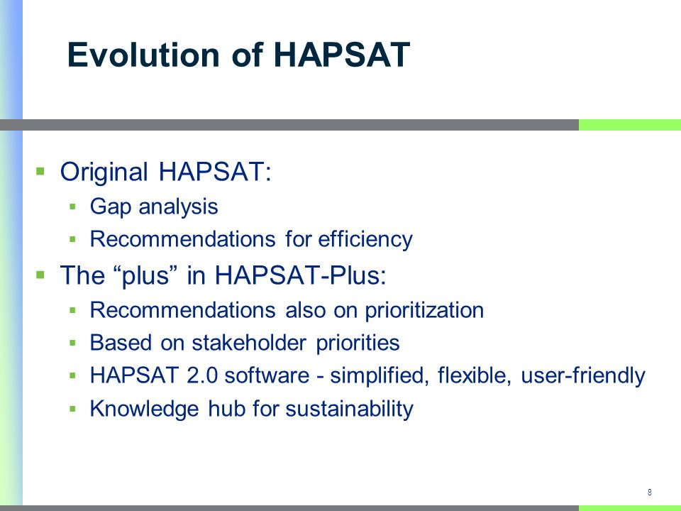 8 Evolution of HAPSAT Original HAPSAT: Gap analysis Recommendations for efficiency The plus in HAPSAT-Plus: Recommendations also on prioritization Bas