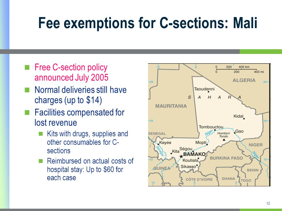 12 Fee exemptions for C-sections: Mali Free C-section policy announced July 2005 Normal deliveries still have charges (up to $14) Facilities compensat
