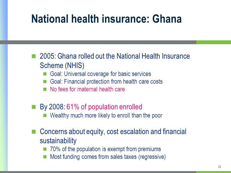22 National health insurance: Ghana 2005: Ghana rolled out the National Health Insurance Scheme (NHIS) Goal: Universal coverage for basic services Goa