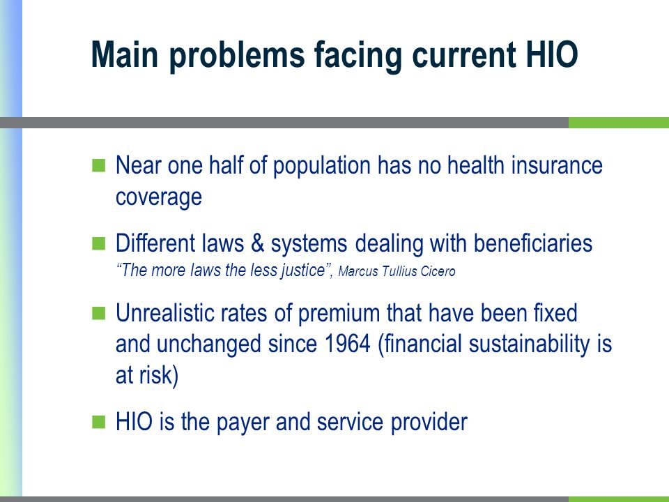 Main problems facing current HIO Near one half of population has no health insurance coverage Different laws & systems dealing with beneficiaries The more laws the less justice, Marcus Tullius Cicero Unrealistic rates of premium that have been fixed and unchanged since 1964 (financial sustainability is at risk) HIO is the payer and service provider