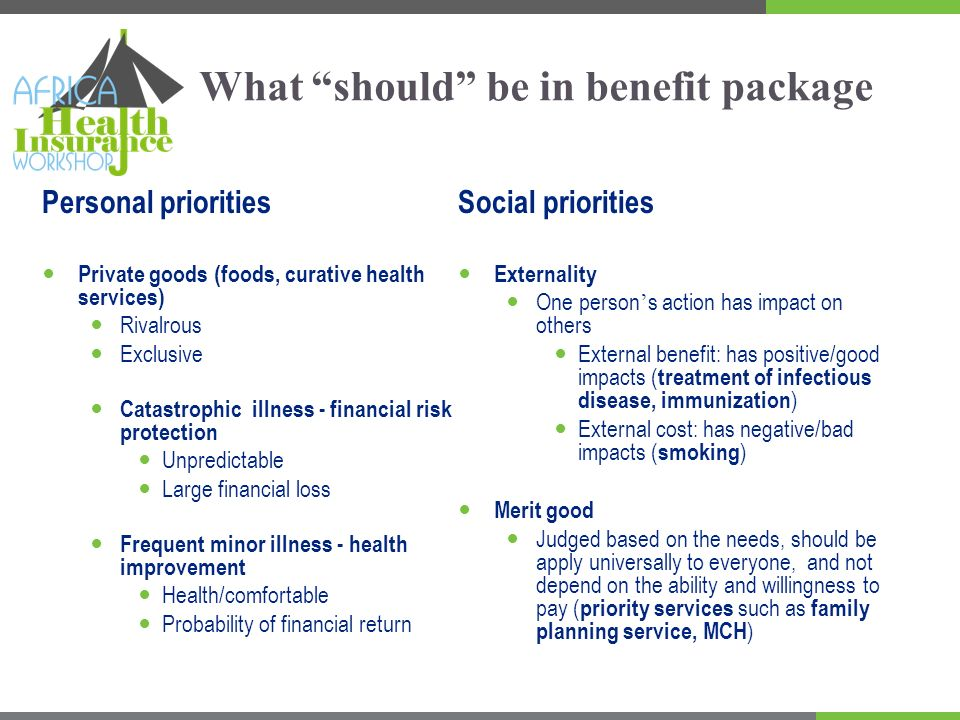 The potential benefits of including priority services/social priorities Improve health through the increase of use of the services Merit goods (i.e.