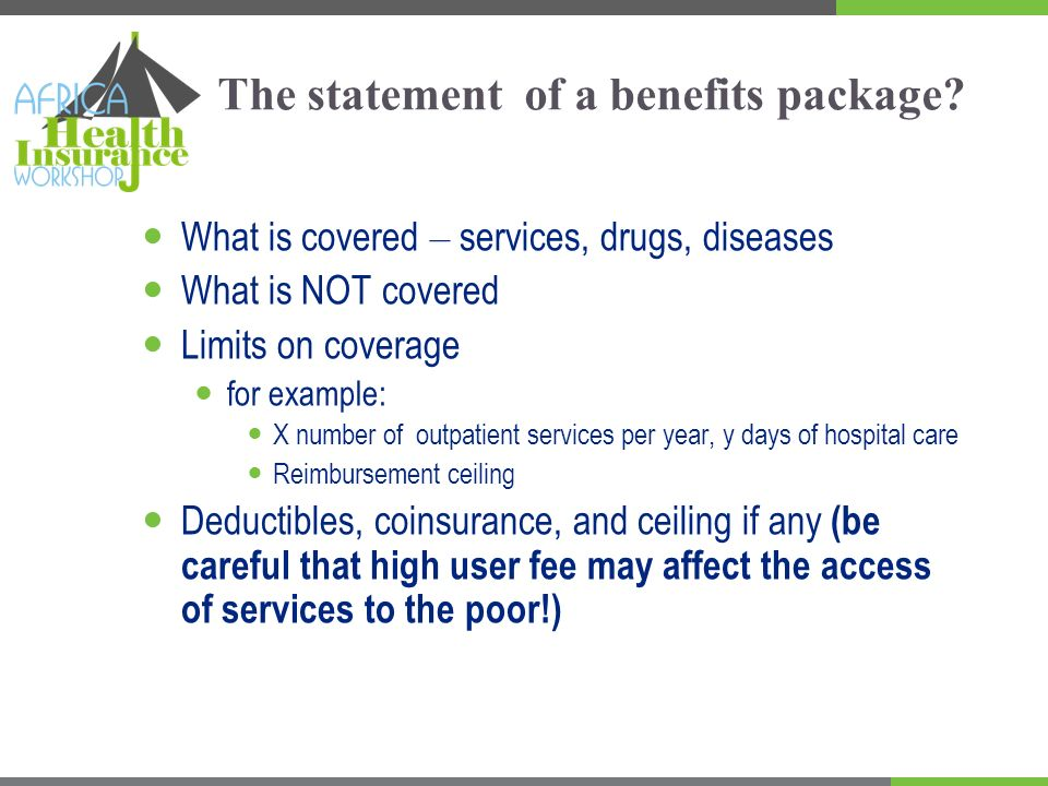 Potential co-payment from users Deductible Coinsurance % pop ulat ion Medical expenditure Ceiling Sources: Paul Feldstein, Health Care Economics, Delmar Publishers Inc, 1993