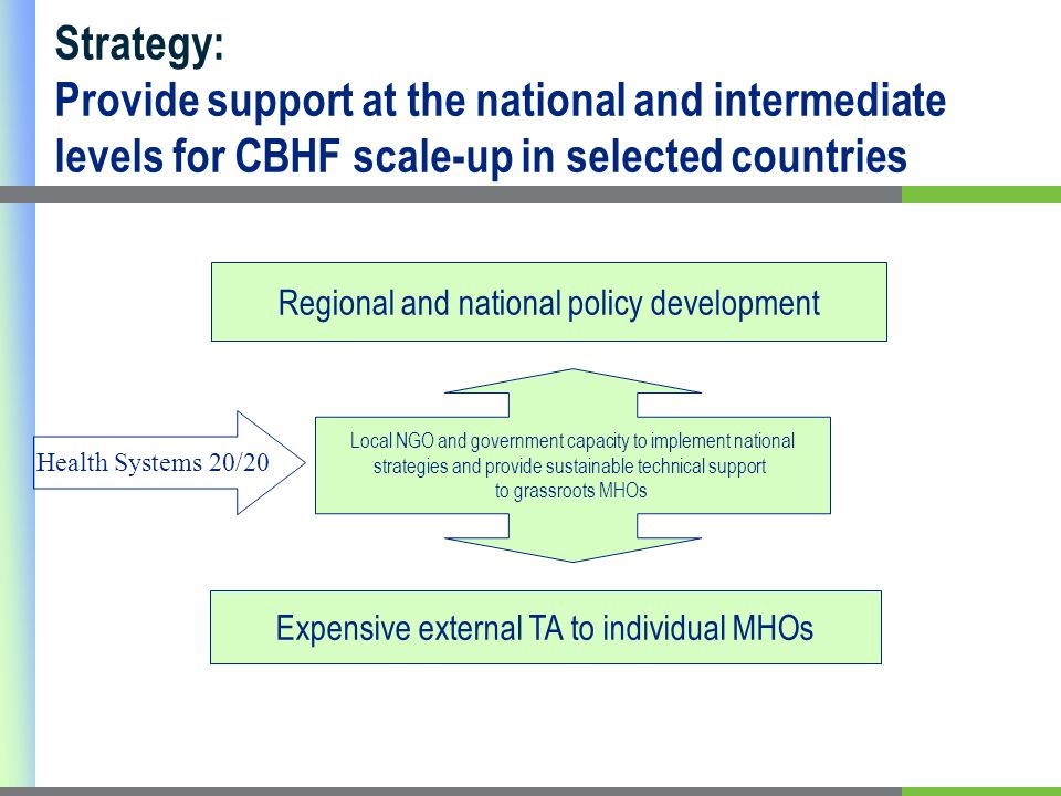 Strategy: Provide support at the national and intermediate levels for CBHF scale-up in selected countries Regional and national policy development Expensive external TA to individual MHOs Local NGO and government capacity to implement national strategies and provide sustainable technical support to grassroots MHOs Health Systems 20/20