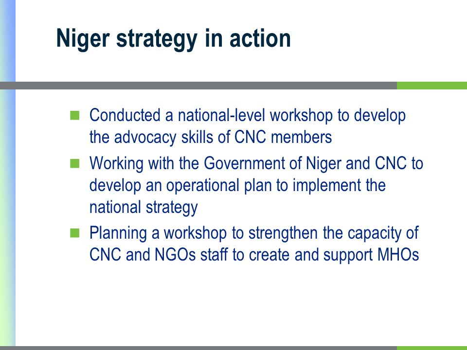 Niger strategy in action Conducted a national-level workshop to develop the advocacy skills of CNC members Working with the Government of Niger and CNC to develop an operational plan to implement the national strategy Planning a workshop to strengthen the capacity of CNC and NGOs staff to create and support MHOs