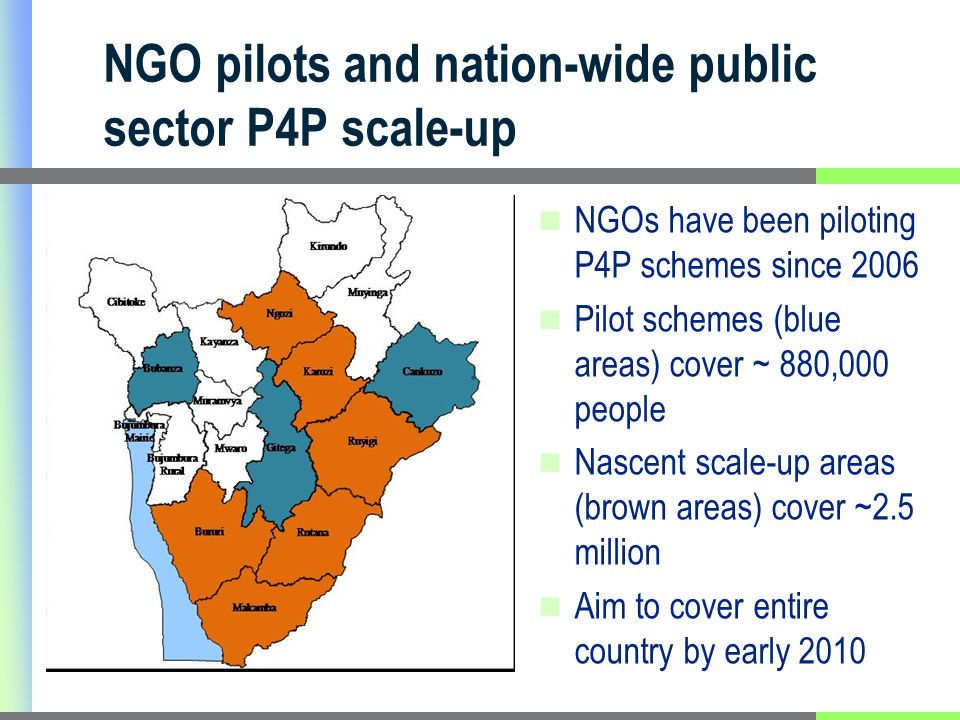 NGO pilots and nation-wide public sector P4P scale-up NGOs have been piloting P4P schemes since 2006 Pilot schemes (blue areas) cover ~ 880,000 people Nascent scale-up areas (brown areas) cover ~2.5 million Aim to cover entire country by early 2010