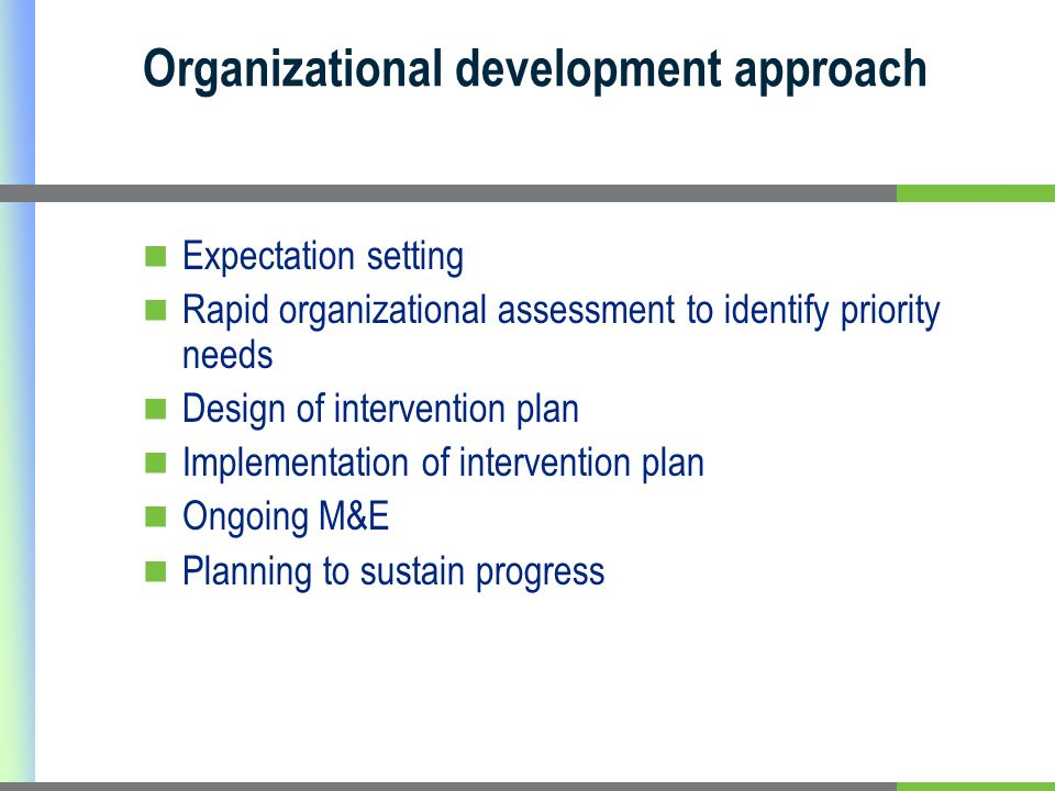 Organizational development approach Expectation setting Rapid organizational assessment to identify priority needs Design of intervention plan Implementation of intervention plan Ongoing M&E Planning to sustain progress