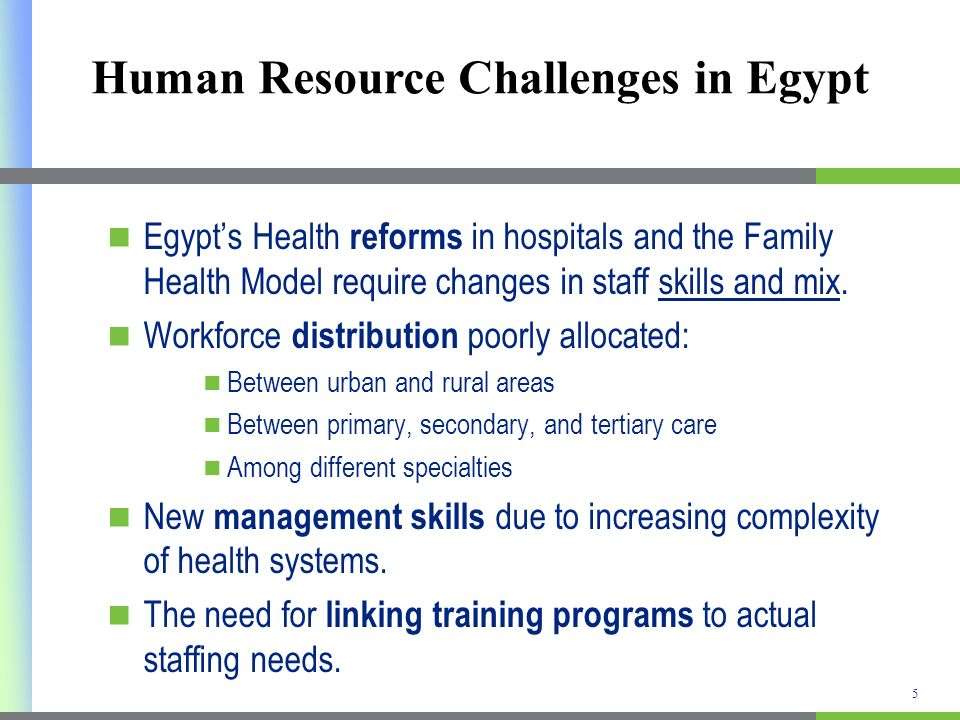 Human Resource Challenges in Egypt Egypts Health reforms in hospitals and the Family Health Model require changes in staff skills and mix.