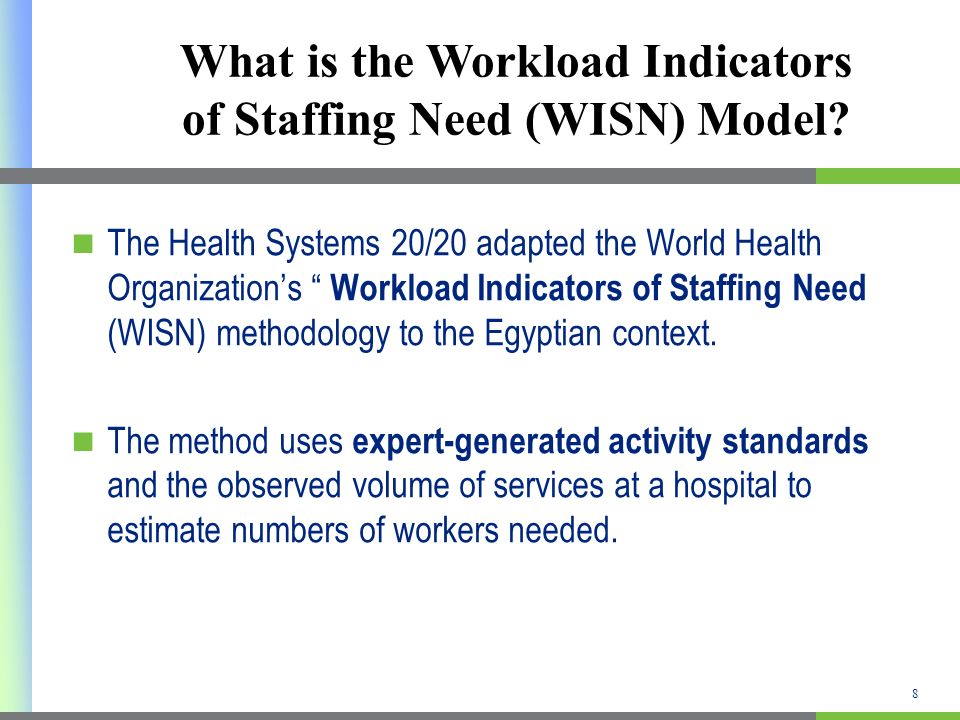 What is the Workload Indicators of Staffing Need (WISN) Model? The Health Systems 20/20 adapted the World Health Organizations Workload Indicators of