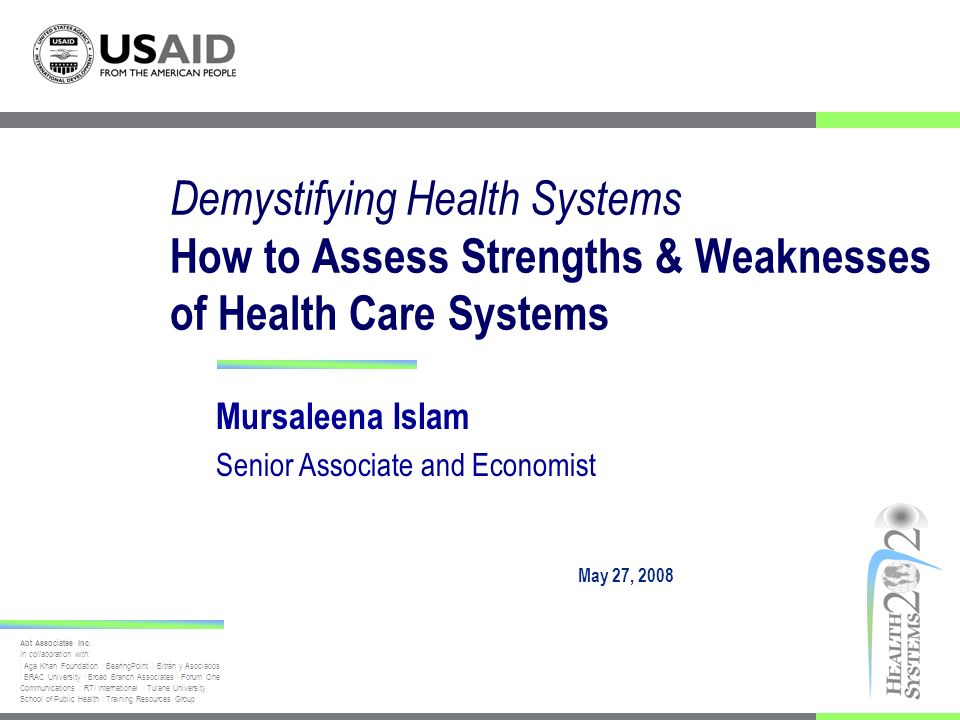 Presentation Outline Background for the Health Systems Assessment Approach: A How-To Manual Overview of framework and indicator-based approach Technical content - module description Applications
