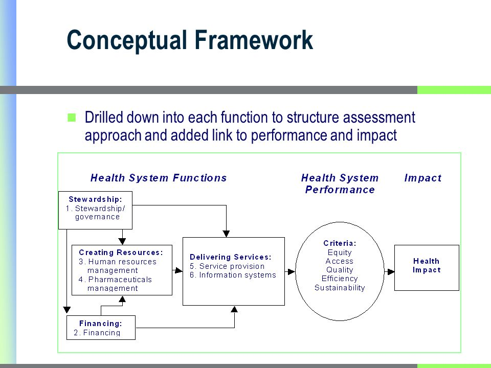 Conceptual Framework Drilled down into each function to structure assessment approach and added link to performance and impact