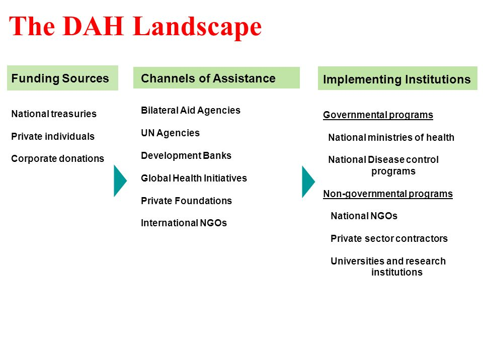 4 The DAH Landscape Funding Sources National treasuries Private individuals Corporate donations Channels of Assistance Bilateral Aid Agencies UN Agencies Development Banks Global Health Initiatives Private Foundations International NGOs Implementing Institutions Governmental programs National ministries of health National Disease control programs Non-governmental programs National NGOs Private sector contractors Universities and research institutions