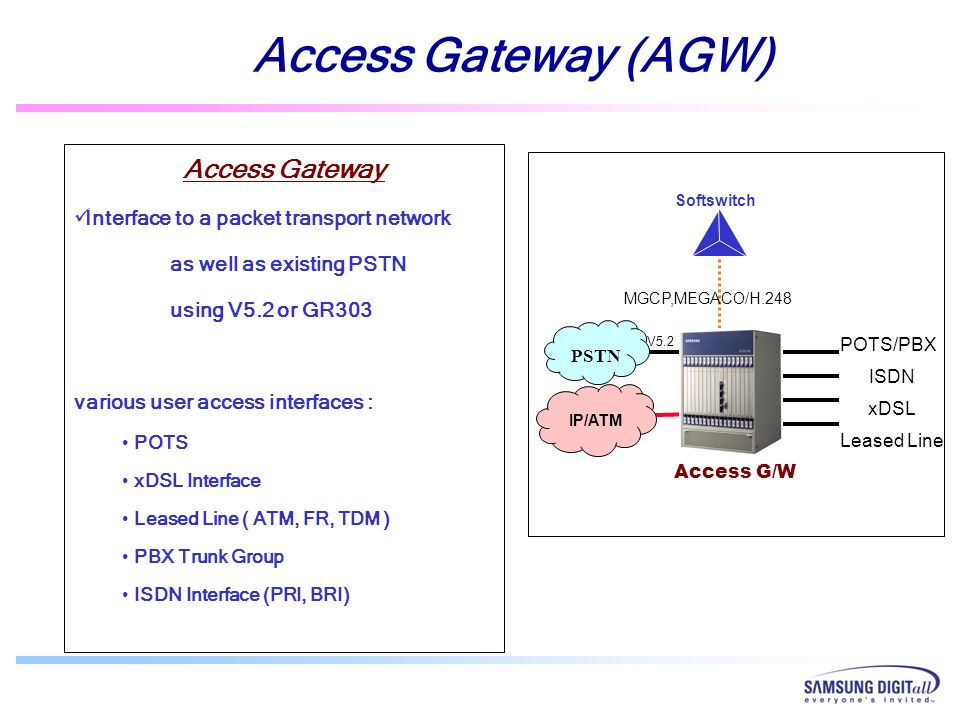 Access Gateway Interface to a packet transport network as well as existing PSTN using V5.2 or GR303 various user access interfaces : POTS xDSL Interfa
