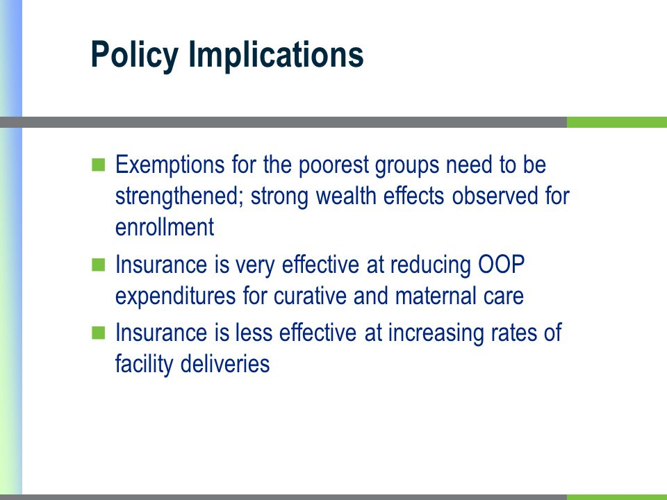 Policy Implications Exemptions for the poorest groups need to be strengthened; strong wealth effects observed for enrollment Insurance is very effecti