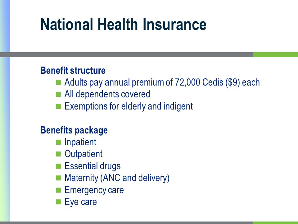 National Health Insurance Benefit structure Adults pay annual premium of 72,000 Cedis ($9) each All dependents covered Exemptions for elderly and indigent Benefits package Inpatient Outpatient Essential drugs Maternity (ANC and delivery) Emergency care Eye care