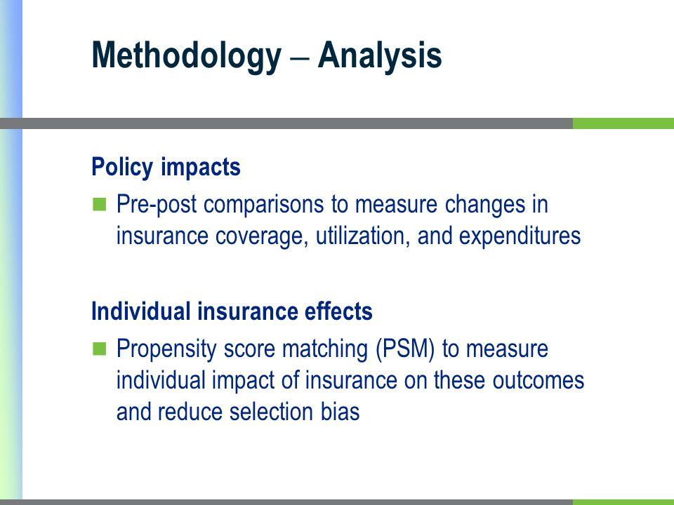 Methodology – Analysis Policy impacts Pre-post comparisons to measure changes in insurance coverage, utilization, and expenditures Individual insurance effects Propensity score matching (PSM) to measure individual impact of insurance on these outcomes and reduce selection bias